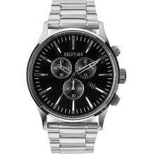 Nixon Armbanduhr mit Totalisatoren 'Sentry Chrono' (Gehäuse 40 mm) schwarz / silber