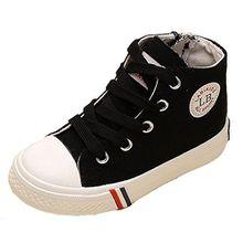 VECJUNIA Kinder Jungen und Mädchen Klassisch Schnürsenkel Hohe Unisex Sneaker Outdoor und Sport Schuhe Schwarz 23 EU