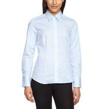 Seidensticker Damen Bluse Hemdbluse Langarm modern fit Uni Bügelfrei, Blau (Blau 12), 36