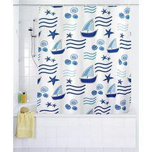 WENKO Duschvorhang Boating - Textil - 180 x 200 cm (BxH) - inkl. Duschvorhangringe - Vorhang f. Wanne oder Dusche