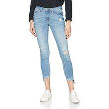 TOM TAILOR Denim Damen Slim Jeans Jona Destr, Blau (Destroyed Mid Stone 10285), W28