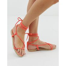Simmi London - Hira - Espadrille-Sandalen mit Zehenschlaufe, in Korallenrot - Orange