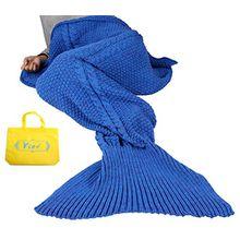 Mermaid Tail Deckenhaken Yier® Erwachsene Teens Jugendliche Wohnzimmer Sofa Super Soft Decken Schlafsäcke-königsblau