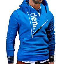 Herren Kapuzenpullover Sonnena Hoodie Sweatshirt Lange Ärmel Brief gedruckt Kapuzenpullis Kaschmir Pullover Tops Jacket Coat Outwear Cardigan Mantel (Hoodie Blau, M)