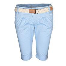 Fresh Made Damen Short Sommer kurze Hose Chino Shorts inkl. Bermuda Gürtel B458 [B458 - Hellblau - 80ZA - Gr.S-Gr.36]