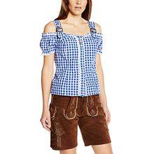 Fuchs Trachtenmoden Damen Trachten Bluse mit Carmenarm und Metall Schließe, Gr. 40 (Herstellergröße: M), Blau