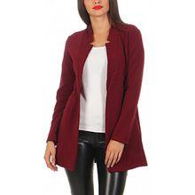 Damen lang Blazer mit Taschen ( 573 ), Farbe:Bordeaux, Blazer 1:40 / L