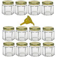 Viva Haushaltswaren 12 x Mini Einmachglas 47 ml mit goldfarbenem Deckel, sechseckige Glasdosen als Marmeladengläser, Gewürzdosen, Gastgeschenk etc. verwendbar (inkl. Trichter Ø 12,3 cm)