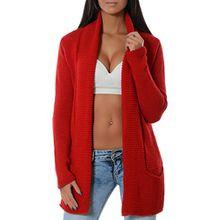 Damen Casual Cardigan Strickweste Pullover (weitere Farben) 14143, Farbe:Rot, Größe:One Size