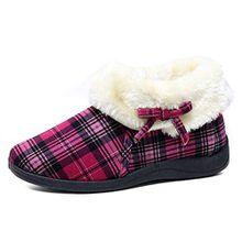 Womens Dunlop Bessie Kunstpelz Kragen Ankle Hausschuhe Stiefel - Rosa Kariert, 6 UK / 39 EU