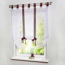 Souarts Braun Transparent Gardine Vorhang Raffgardinen Raffrollo Schlaufenschal Deko für Wohnzimmer Schlafzimmer Studierzimmer 100x140cm