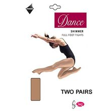 2 Paar Silky Erwachsene Damen Komplettter Fuß Schimmernd Tanz Ballet Strumpfhosen 2 Paar - Toast, Large