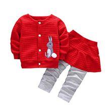 Kleidung mädchen Kolylong® 1 Set ( 6-24 Monate ) Baby Mädchen Herbst Gedruckt Anzug (1PC Mantel+ 1PC Hose lange ) Outfits Kleiderset Suit Sweatshirt Babykleidung (80CM( 6-12 Monate), Rot)