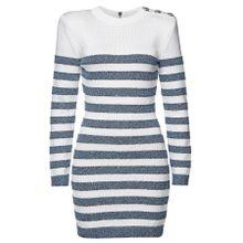 Balmain Gestreiftes Minikleid mit Baumwolle und Pailletten
