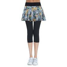 HonourSport Damen Capri Hose mit Rock Yoga Leggings 2-in-1