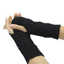 Bluelans® Strick Armstulpen Pulswärmer fingerlos Handschuhe Damenhandschuhe Winterhandschuhe Fäustlinge Fausthandschuhe (Schwarz)