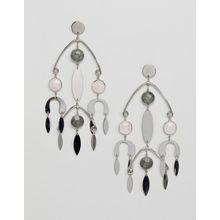 ASOS DESIGN – Silberne Ohrringe mit mobilem Design und Halbedelsteinen