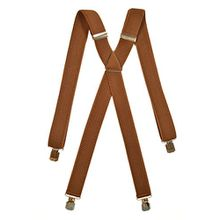 Kinder 5-12 Jahre Unifarben Hosenträger mit 4 Clips, Klassiker Design - 3cm. Braun