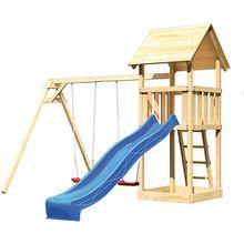 Spielturm Lotti mit Satteldach, Doppelschaukel und Rutsche blau