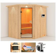KARIBU Sauna »Holli«, 210x184x202 cm, 3,6 kW Plug & Play Ofen mit ext. Steuerung