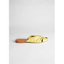 Square Toe Gathered Leather Sandals - Yellow