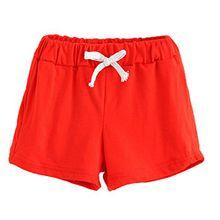 Bekleidung Longra Sommer Kinder Baumwoll Shorts Jungen Und Mädchen Kleidung Baby Mode kurz Sporthosen(2-6Jahre) (120CM 5Jahre, Red)