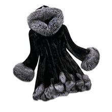 Damen Mantel ,FRIENDGG Frauen Langärmelige Kunstpelz Outwear Mode Lässig Faszinierende Mit Kapuze Parka Herbst Winter Feste Warme Neu Mantel Pullover Sweatshirt Jacke (XXXXL, Schwarz)