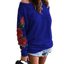 Outgobuy Damen asymmetrische aus Schulter Sweatshirt Strickjacke Rose Bluse Tops Tops T-Shirt (Small, Marine)