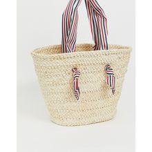South Beach - Strandtasche aus Stroh mit gestreiftem Griff - Beige