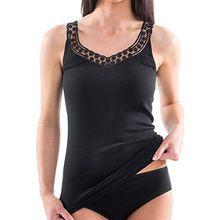 HERMKO 153310 Damen Unterhemd mit schöner Spitze, Farbe:schwarz, Größe:36/38 (S)