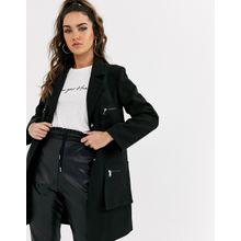 Missguided – Schwarzer Mantel mit Taschen