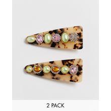 ASOS DESIGN - Haarspangen mit Kristallglas, Perlenverzierung und Schildplattdesign, 2er-Pack - Mehrfarbig