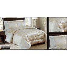Sandra Creme Tagesdecke Bettüberwurf Bettdecke Damast Creme Tagesdecke 260x260 cm + 2 Kissenbezüge 50x75cm