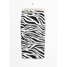 Zebra Pencil Skirt - White