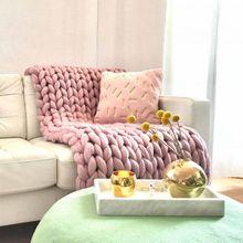 XL Wolldecke Cosima Chunky Knit, pale pink