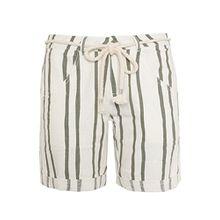 Fresh Made Damen Leinen Bermudas mit Streifen | Kurze Leinenhose mit Flechtgürtel white1 M