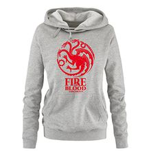 Comedy Shirts - Game of Thrones - FIRE AND BLOOD - Damen Hoodie - Grau / Rot Gr. M