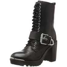 Bronx Damen BX 1432 Bkirkx Biker Boots, Schwarz (Black/Silver), 40 EU