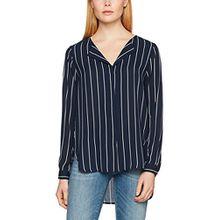SELECTED FEMME Damen Bluse Sfdynella Stripe LS Shirt Noos, Mehrfarbig (Creme Stripes:Dark Sapphire), 38