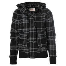 O´NEILL Damen Wolljacke Trendige Winterjacke Kapuze gefütterte Jacke Karo Jade S black