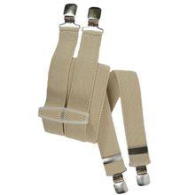 Kinder 5-12 Jahre Unifarben Hosenträger mit 4 Clips / Kunststoff - Creme