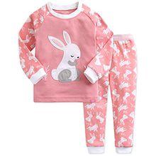 Vaenait Baby Kinder Maedchen Nachtwaesche Schlafanzug 2 Stuck Set Heeling Rabbit_pink XS