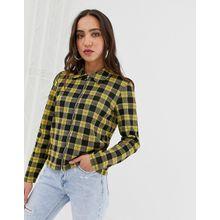 Pieces - Leichte Jacke mit Reißverschluss und Schottenkaros - Gelb
