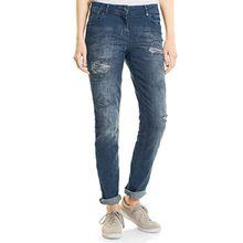 CECIL Damen Straight Jeans 371055 Scarlett, Blau (Dark Blue Wash 10315), W36/L32 (Herstellergröße: 27)
