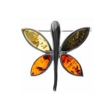 OSTSEE-SCHMUCK Brosche »Schmetterling Silber 925/000 Bernstein«