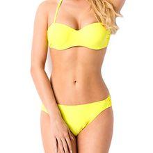 Damen Bandeau Bikini Set Push up mit Träger Bustier Neckholder Höschen Slip Bademode Oberteil Unterteil gelb L