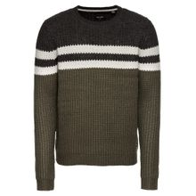Only & Sons Pullover 'onsLAZLO STRIPED CREW NECK KNIT' grün / schwarz / weiß