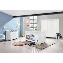Komplett Kinderzimmer SKY groß, (Kinderbett, Wickelkommode breit und 3-türiger Kleiderschrank), Weiß/Hochglanz weiß