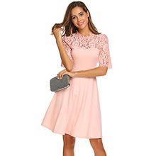 Damen Vintage Retro Spitzen Kleid Rundhals Halbarm Swing Abendkleid Cocktailkleid Hochzeit Festiches Kleid A-Linie Einfarbig Knielang Rosa 42