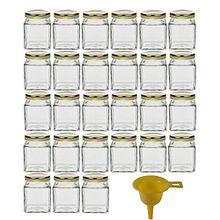 Viva Haushaltswaren 18279# 27 x kleines Marmeladenglas/Gewürzglas 106 ml mit goldfarbenem Schraubverschluss, Gläser Set mit Deckel als Einmachgläser, Vorratsdose etc. verwendbar (inkl. Trichter)